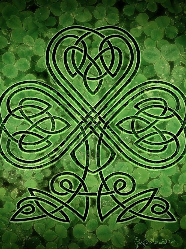 black and green flag with clovers and celtic design in the center