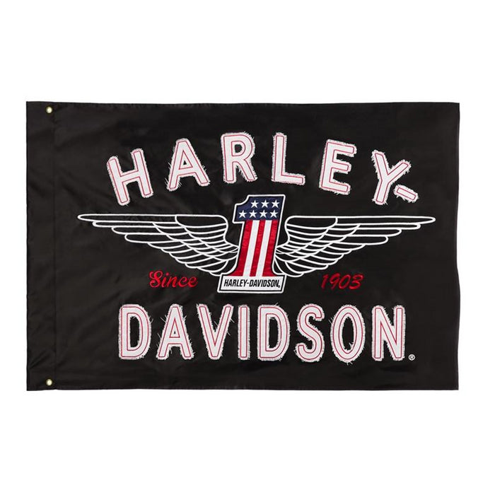 Harley Davidson #1 Logo Appliqué Estate Flag