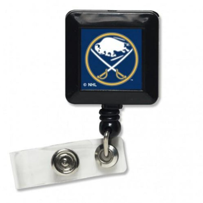 black retractable badge holder with the buffalo sabres logo in the center