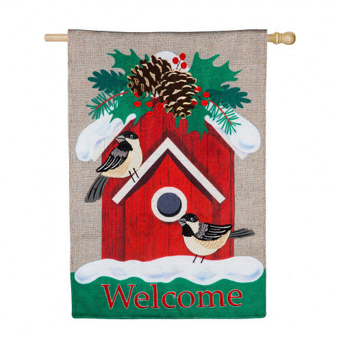 Holiday Chickadee Birdhouse Burlap Banner Flag