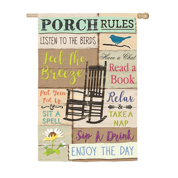 PORCH RULES BANNER FLAG