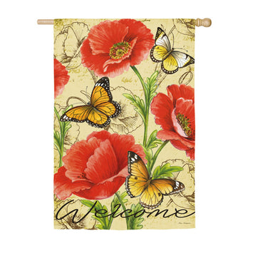BRIGHT FLORALS WITH BUTTERFLIES BANNER FLAG
