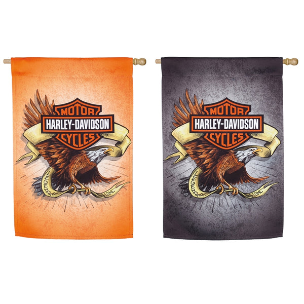 DOUBLE SIDED EAGLE FLAG WITH HARLEY LOGO AND ONE SIDE WITH AN ORANGE BACK AND THE OTHER BLACK
