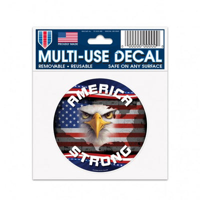 "PATRIOTIC AMERICA STRONG W/ EAGLE MULTI-USE DECAL 3"" X 4"""