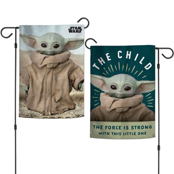 DISNEY STAR WARS THE MANDALORIAN THE FORCE IS STRONG WITH THIS LITTLE ONE 2-SIDED GARDEN FLAG