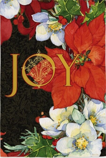 JOY POINSETTIAS GARDEN FLAG