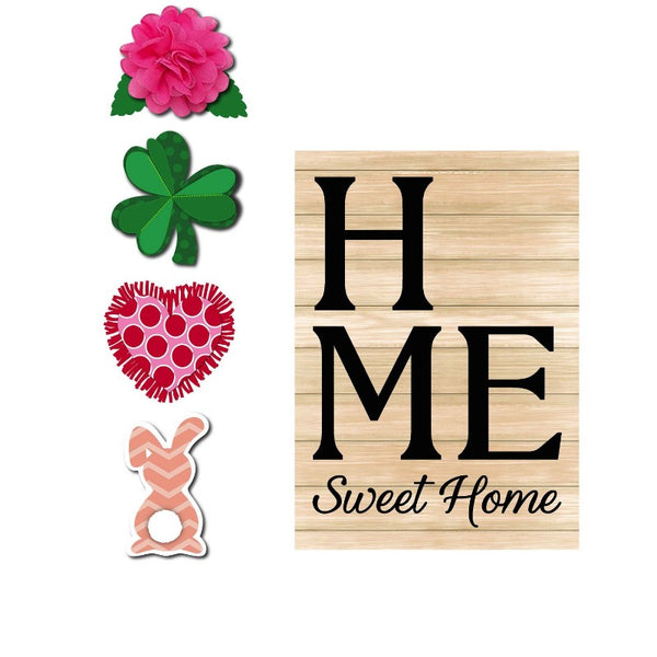 Home Sweet Home Interchangeable Icon Burlap Garden Flag