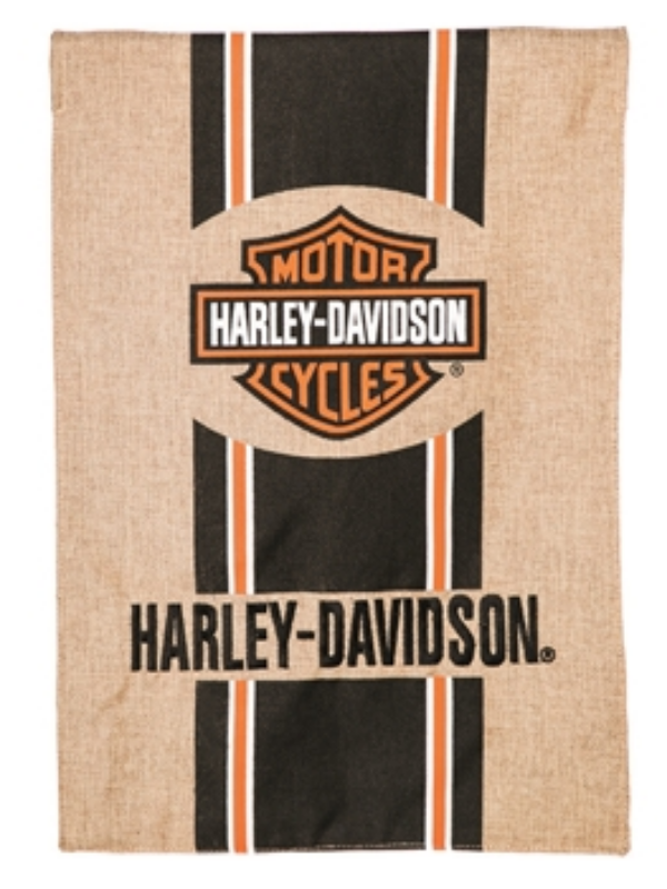 HARLEY DAVIDSON BURLAP FLAG WITH THE LOGO IN THE TOP CENTER