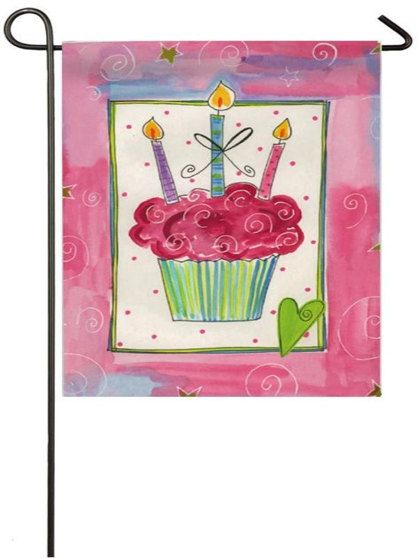 flag with pink border and and cupcake in the center