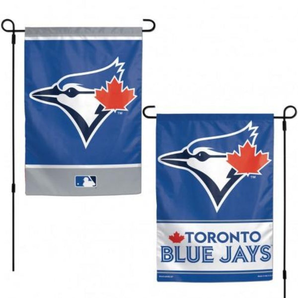 blue garden flag with two different designs; both toronto blue jays themed