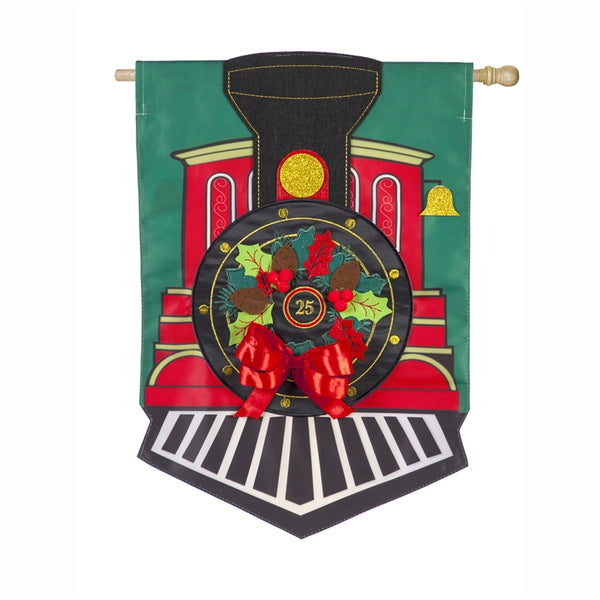 CHRISTMAS TRAIN APPLIQUE BANNER FLAG