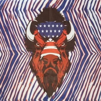 RED, WHITE, AND BLUE ZUBAZ FLAG WITH BUFFALO HEAD AND AMERICAN FLAG IN THE CENTER