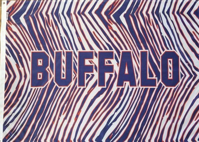 RED, WHITE, AND BLUE ZUBAZ PRINTED FLAG WITH THE WORD