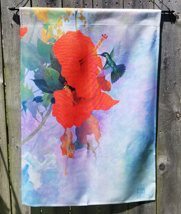 RED HIBISCUS HUMMINGBIRD BANNER FLAG