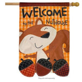 WELCOME TO THE NUTHOUSE APPLIQUE DECORATIVE FLAGS