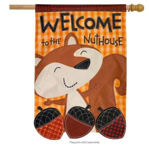 squirrel with acorns autumn plaid flag that says