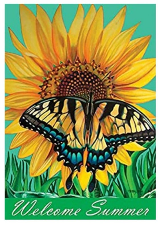 Swallowtail Sunflower Banner Flag
