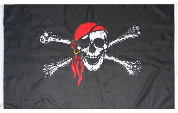 3x5 FT RED BANDANA PIRATE FLAG
