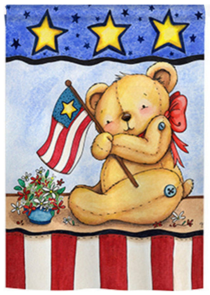 teddy bear patriotic flag