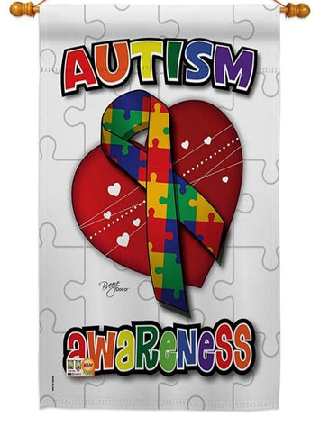 AUTISM AWARE RIBBON BANNER FLAG