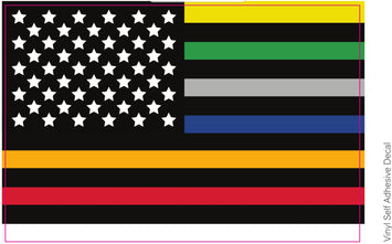 First Responders Flag Decal