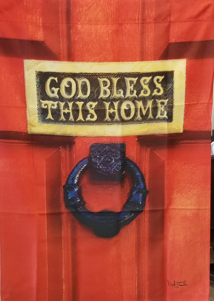 GOD BLESS THIS HOME BANNER FLAG