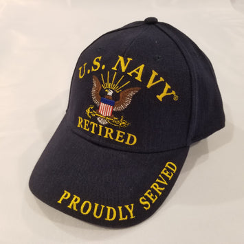 Navy retired embroidered emblem on navy blue hat