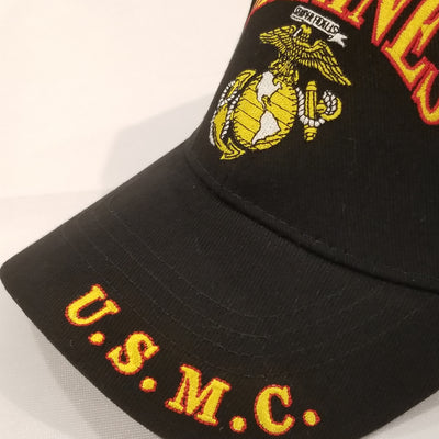 marine corps embroidered emblem on black hat semper fi