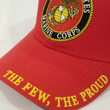 Marine corps embroidered logo on bright red hat