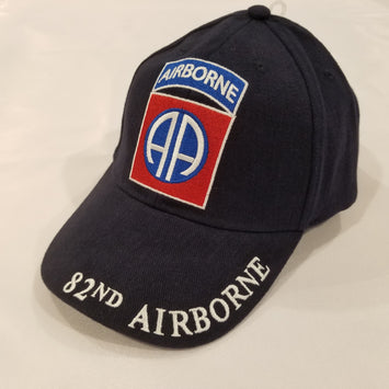 AIRBORNE LOGO ON THE HAT WITH 82ND AIRBORNE ON THE BRIM