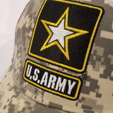 camo hat with black and gold army star logo