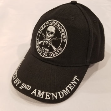 black hat with second amendment logo in the center