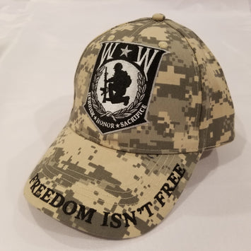 wounded warrior embroidered hat on camo print
