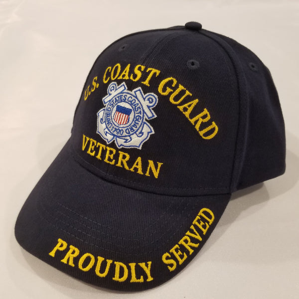 blue hat with the coast guard logo