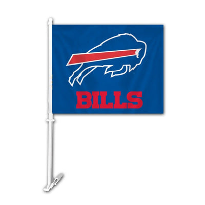 "blue bills car flag with charging buffalo logo and the word ""BILLS"""