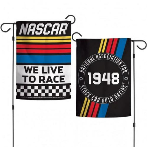 black garden flag with two different nascar themed designs on each side