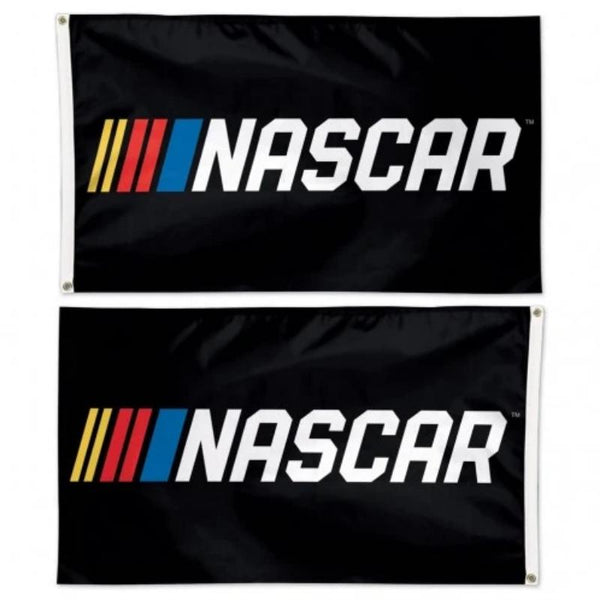 black flag with the nascar logo on both sides correct facing