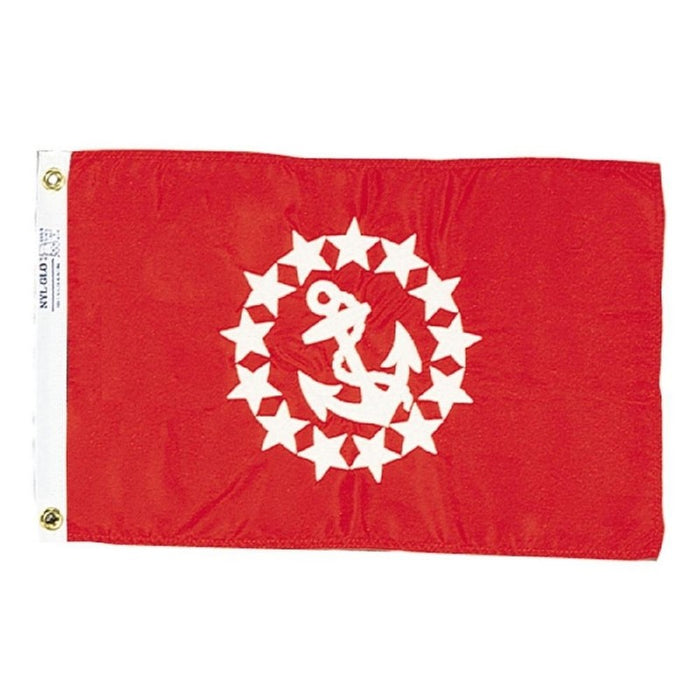 RED BACKGROUND FLAG WITH EMBROIDERED WHITE STARS IN A CIRCLE AROUND AN ANCHOR