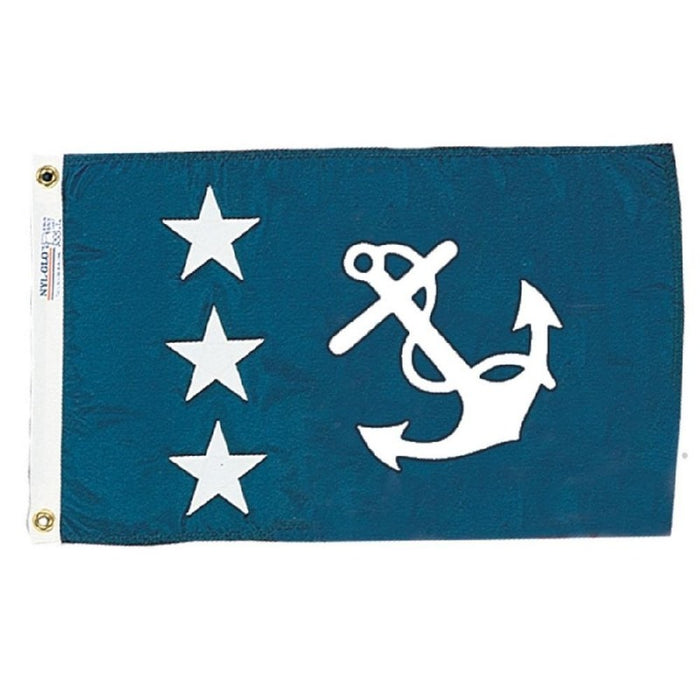 BLUE BACKGROUND WITH THREE STARS ON THE LEFT AND AN ANCHOR ON THE RIGHT
