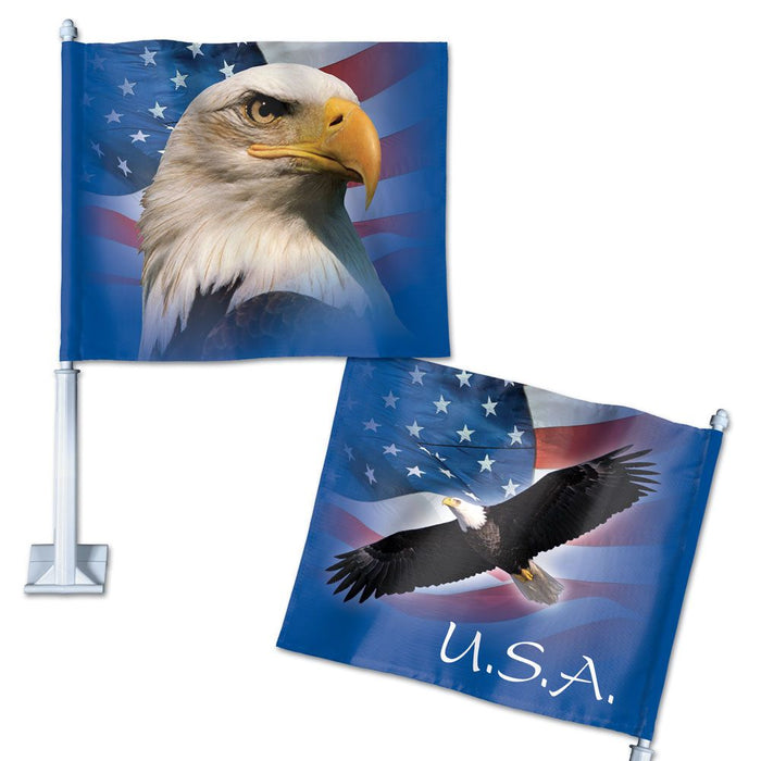 PATRIOTIC EAGLE DOUBLE SIDED CAR FLAG