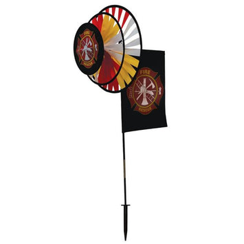 FIRE RESCUE DUAL SPINNER WHEELS WITH GARDEN FLAG
