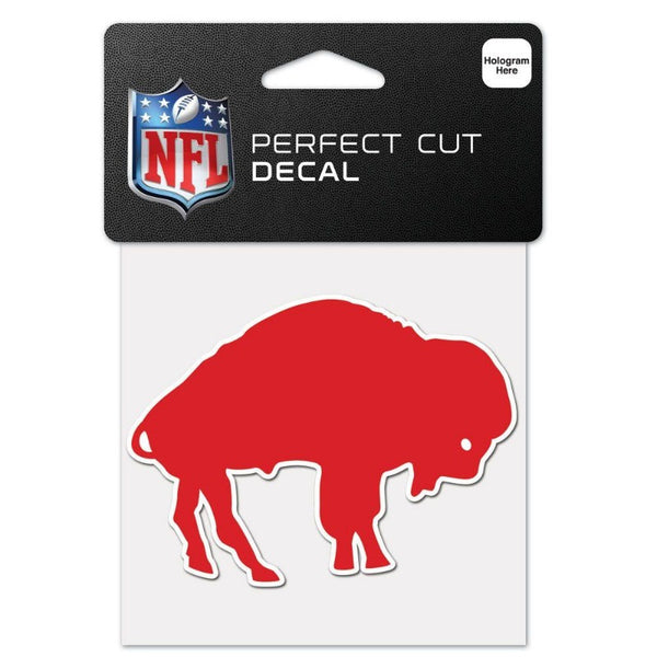 red standing buffalo with white outline decal