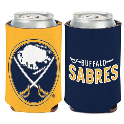 "can cooler with the sabres logo on one side and ""buffalo sabres"" on the other"