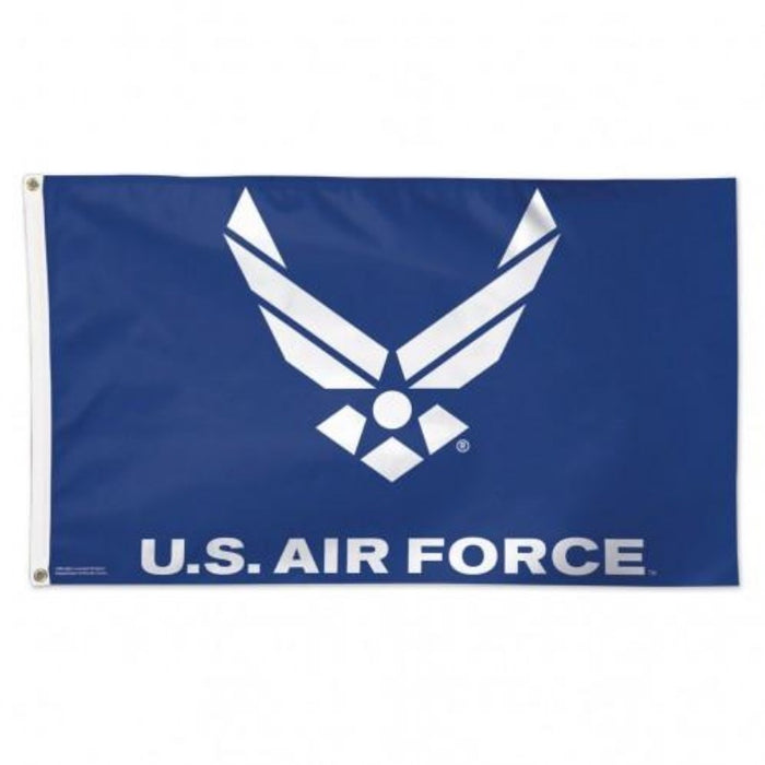blue flag with the us air force wings logo in the center