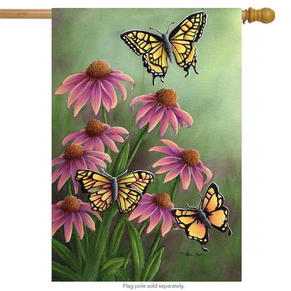 butterfly with coneflowers decorative flag