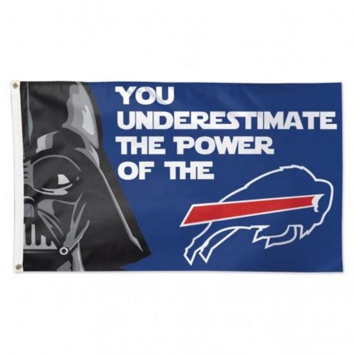 blue flag with darth vader and the charging buffalo logo