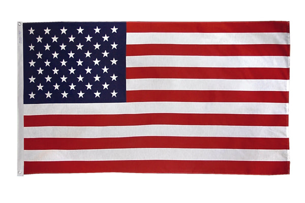 USA nylon Flag featuring embroidered stars and sewn stripes. Flag made in the USA