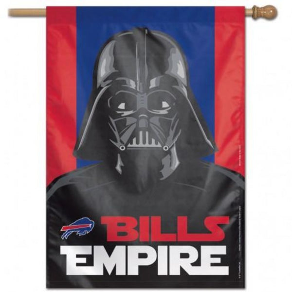 red and blue flag with darth vader and the words