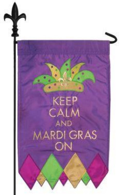 KEEP CALM AND MARDI GRAS ON BANNER FLAG