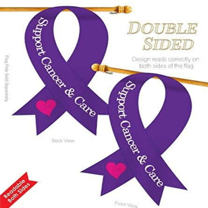 PURPLE RIBBON FLAG WITH THE WORDS